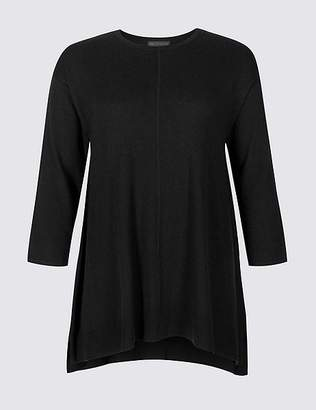 Marks and Spencer CURVE Ribbed Round Neck Longline Jumper