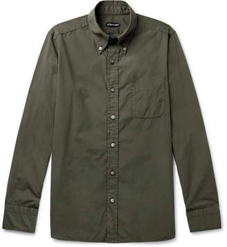 Tom Ford Slim-Fit Button-Down Collar Washed-Cotton Shirt