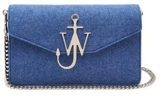 J.W.Anderson Felt And Leather Logo Shoulder Bag - Womens - Blue