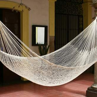 Novica Single Person Unique Ivory 'Sweet Relaxation' Hand-Woven Mayan Artists of the Yucatan Nylon With Accessories Included Indoor And Outdoor Hammock