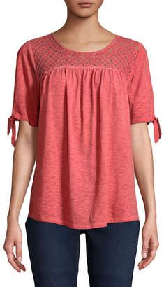 ST. JOHN'S BAY Short Sleeve Crew Neck Eyelet T-Shirt-Womens