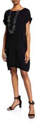Eileen Fisher Boat-Neck Short-Sleeve Organic Cotton Gauze Dress