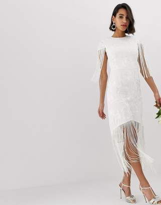 375fe2ccec0692 Asos Edition EDITION embroidered fringe wedding dress