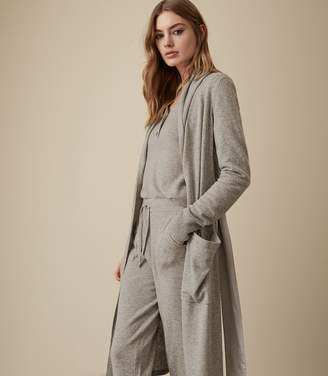 Reiss ADDY WOOL BLEND KNITTED ROBE Grey