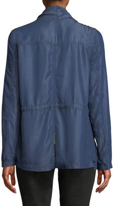 Tahari Denim Draped Open-Front Tencel Jacket