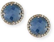 Margo Morrison Faceted Stone & Diamond Button Stud Earrings