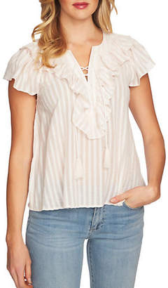CeCe Lace-Up Ruffled Striped Cotton Blouse