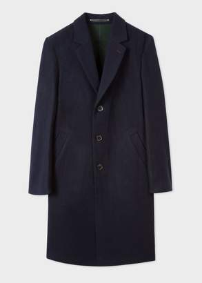 Paul Smith Men's Navy Double Face Wool-Blend Overcoat