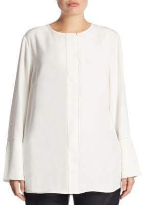 Lafayette 148 New York Plus Georgie Bell-Sleeve Silk Blouse