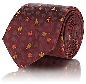 Tie Your Tie TIE YOUR TIE MEN'S LEAF-PRINT SILK SATIN NECKTIE-RED