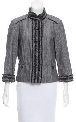 Magaschoni Fringe-Trimmed Long Sleeve Jacket