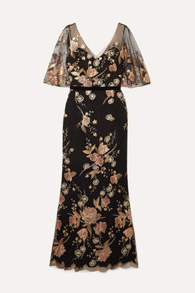 Marchesa Velvet-trimmed Metallic Embroidered Tulle Gown - Black