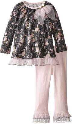 Bonnie Jean Little Girls' Floral Brushed Lace Playwear Set