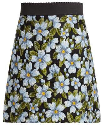 Dolce & Gabbana Floral Jacquard A Line Skirt - Womens - Blue Multi