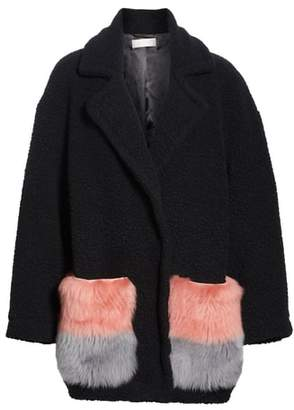 ANNE VEST Berri Wool Blend Coat with Genuine Shearling Pockets