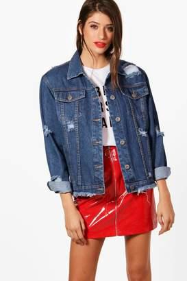boohoo Em Structured Shoulder Oversized Denim Jacket