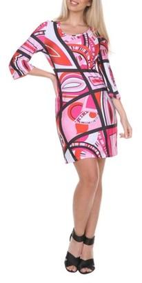 White Mark Women's 3/4 Sleeve Geometric Print Dress