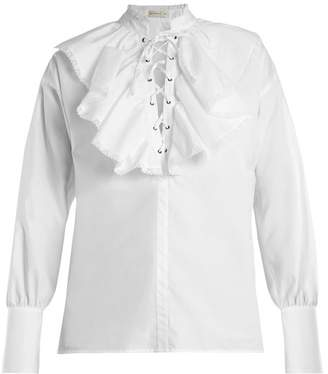 Etro Anet Fluted Bib Cotton Blouse - Womens - White