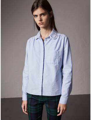 Burberry Lace-trimmed Round Collar Cotton Shirt