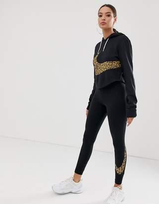 Nike Black Oversized Leopard Swoosh Crop Hoodie