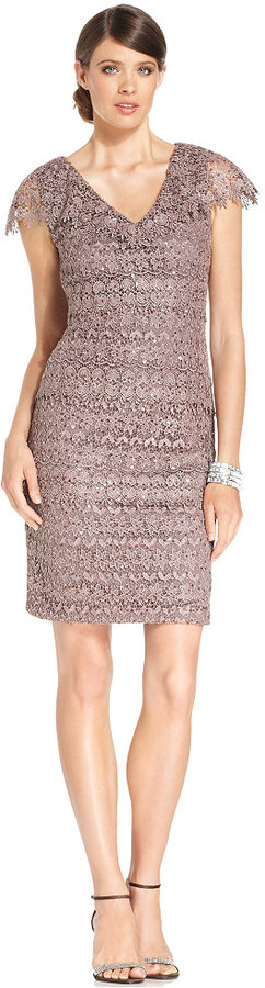 Patra Dress, Capsleeve Sequin-Lace