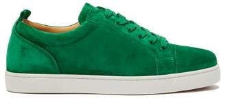 Christian Louboutin Louis Junior Low Top Suede Trainers - Mens - Green