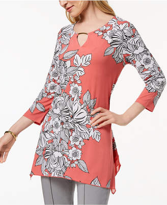 JM Collection Printed Handkerchief-Hem Top, Created for Macy's