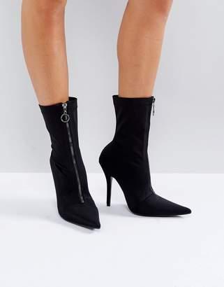 Public Desire Andorra Zip Front Sock Boots