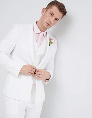 Hatch Asos Design Wedding Skinny Suit Jacket In Off White Cross With Printed Lining