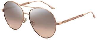 Jimmy Choo Noria Trellis-Arms Aviator Sunglasses