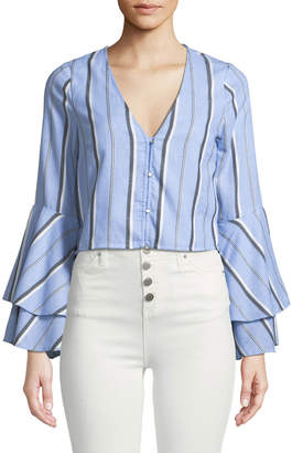 Red Carter Striped Flare-Sleeve Crop Top