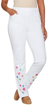 Factory Quacker DreamJeannes Slim Leg Pants with Flower Embroidery