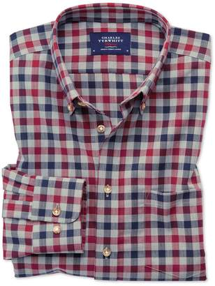 Charles Tyrwhitt Extra Slim Fit Button-Down Non-Iron Twill Red and Navy Blue Gingham Cotton Casual Shirt Single Cuff Size XS