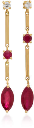 Yi Collection 18K Gold Ruby And Diamond Earrings
