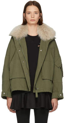 Yves Salomon Army Green and Pink Fur Classic New Bomber Jacket