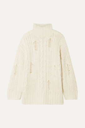 Current/Elliott The Vin Distressed Cable-knit Turtleneck Sweater