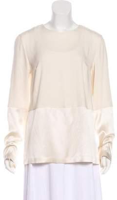 Brunello Cucinelli Silk-Blend Long Sleeve Blouse