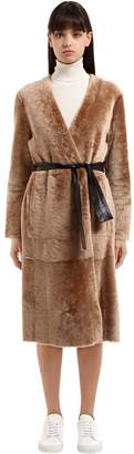 Drome Reversible Shearling Coat W/ Belt