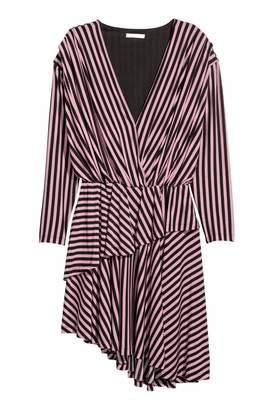 H&M V-neck Dress - Black/cherries - Women