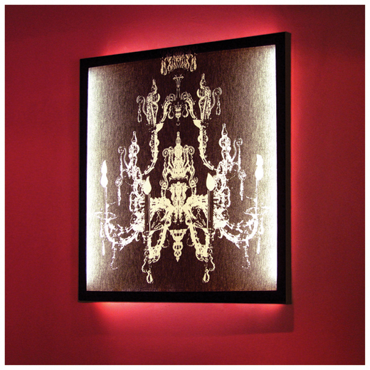 Duffy London White on Black Chandelier Print Wall Light