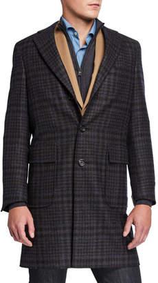 Canali Men's Impeccabile Plaid Wool Topcoat