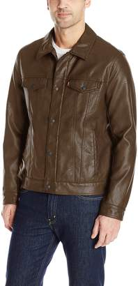 Levi's Men's Smooth Lamb Touch Faux Leather Classic Trucker Jacket