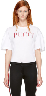 Emilio Pucci White & Pink Glitter Logo T-Shirt $195 thestylecure.com