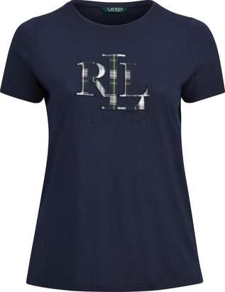 Ralph Lauren Plaid-Logo Applique T-Shirt