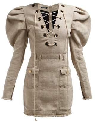 2ae52f6a Balmain Lace Up Canvas Mini Dress - Womens - Beige