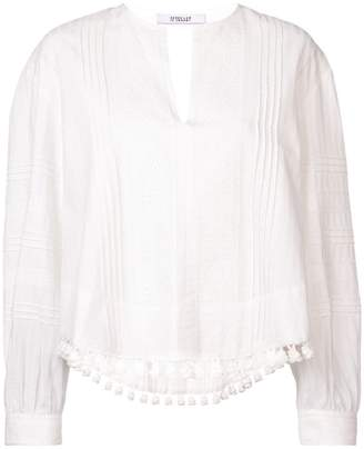 Derek Lam 10 Crosby Tassel and Lace-Trimmed Pintuck Cotton Blouse