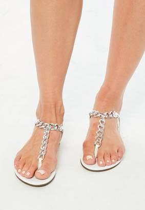 Missguided White Chain T Bar Flat Sandals