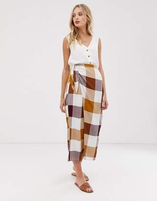 Asos Design DESIGN brown check tie side city maxi skirt