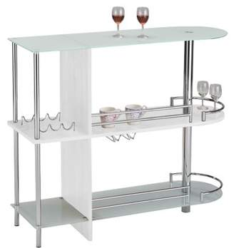 Pilaster Designs Axel White Metal Modern Bar Table With Glass Storage Shelves & Wine Rack