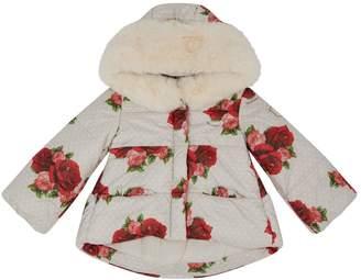 MonnaLisa Rose Print Quilted Coat